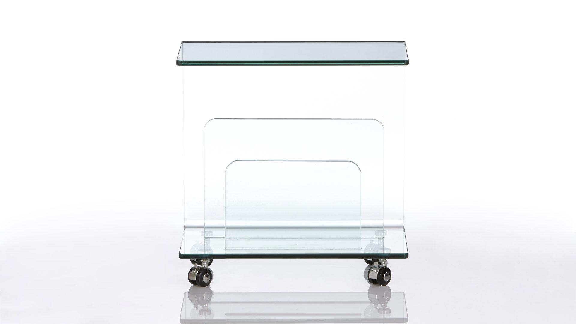 rollbarer Zeitungsständer als Kleinmöbel bzw. Büromöbel, Klarglas ...