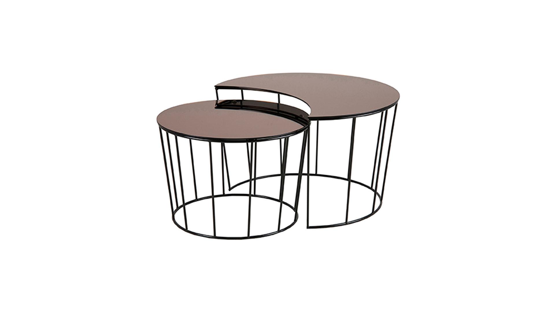 Couchtisch Actona Aus Glas In Metallfarben Couchtisch Set Als Attraktives  Wohnzimmermöbel Bronzefarbenes Glas U0026 Schwarzes