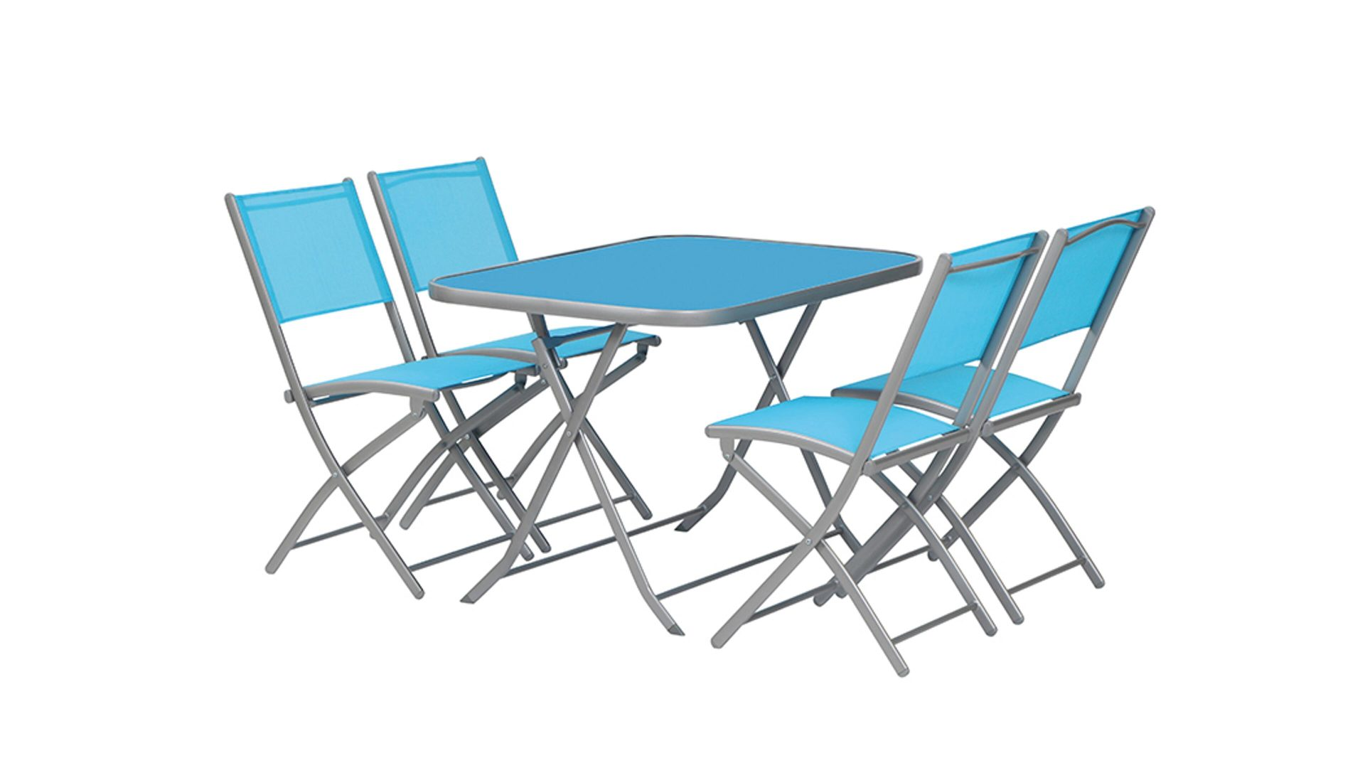 siena GARDEN Balkon-Set Kalua, silberfarbenes Stahlgestell & blauer ...