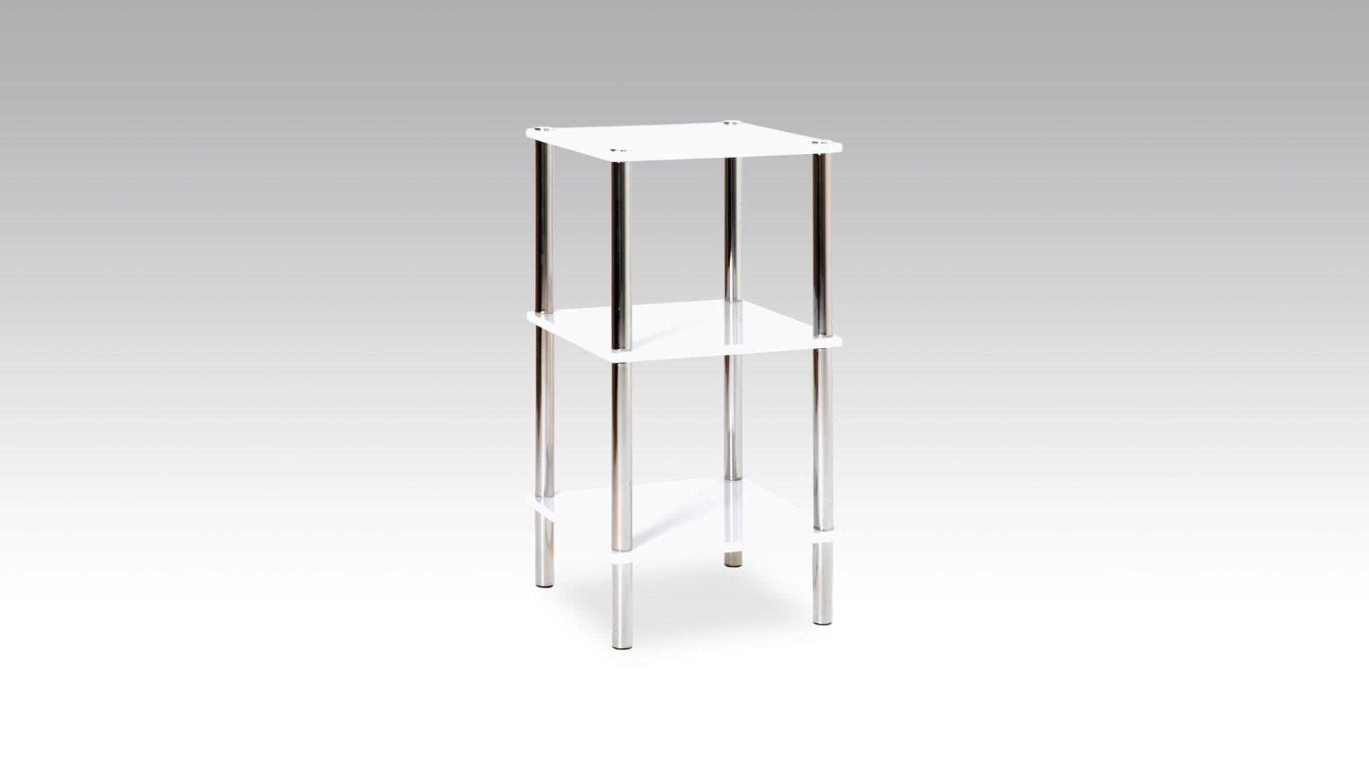 Regal im Badezimmer oder als Beistelltisch einsetzbar, weiße  Kunststoffoberfläche & Chrom   drei Böden, Höhe ca. 20 cm