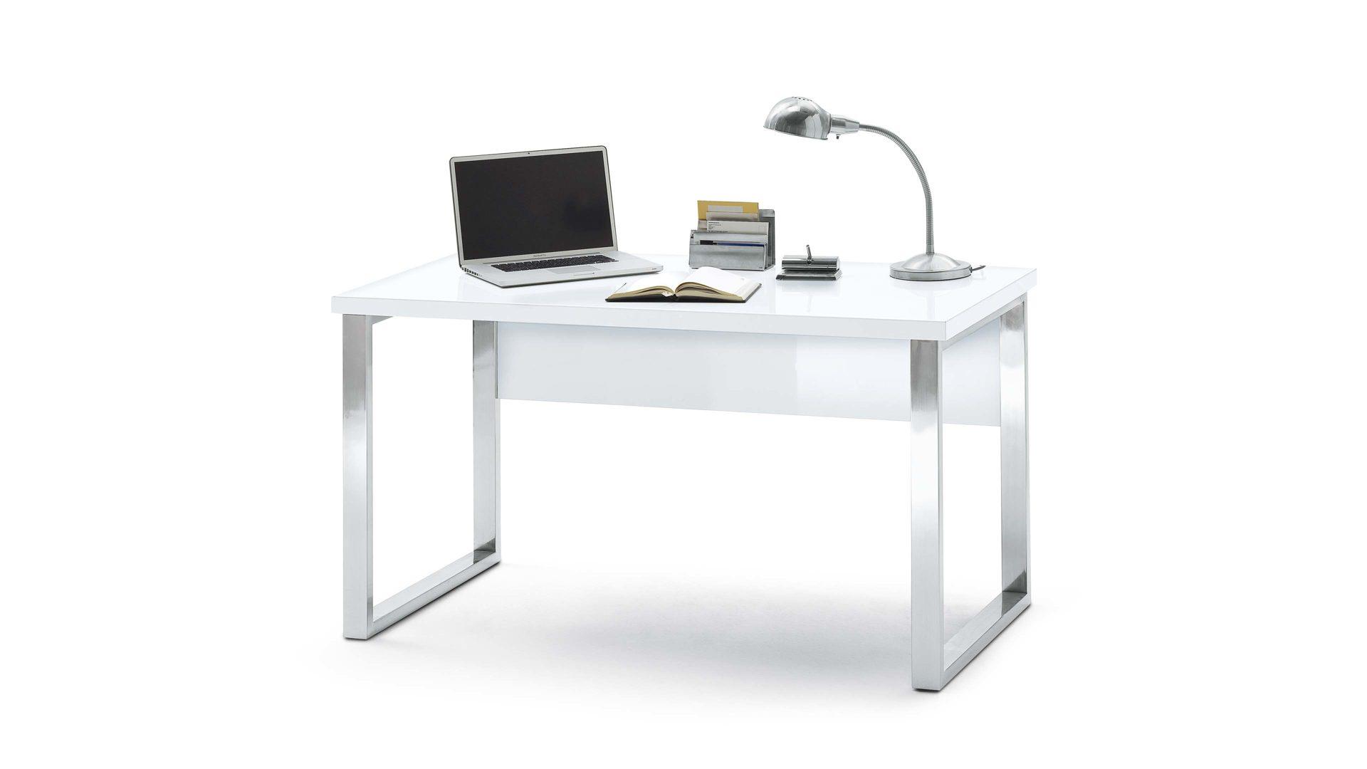 Schreibtisch Mca Furniture Aus Holz In Weiß Schreibtisch Fürs Wohnzimmer  Oder Home Office Verchromtes Gestell U0026