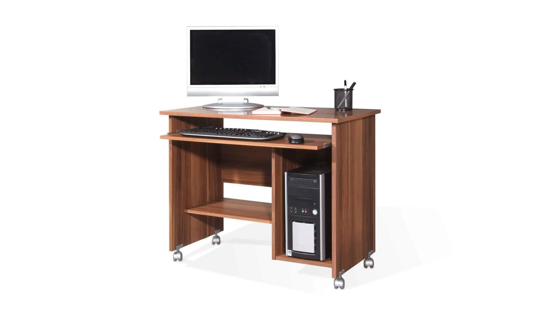 Computertisch auf Rollen als flexibles Büromöbel, walnussfarbene ...