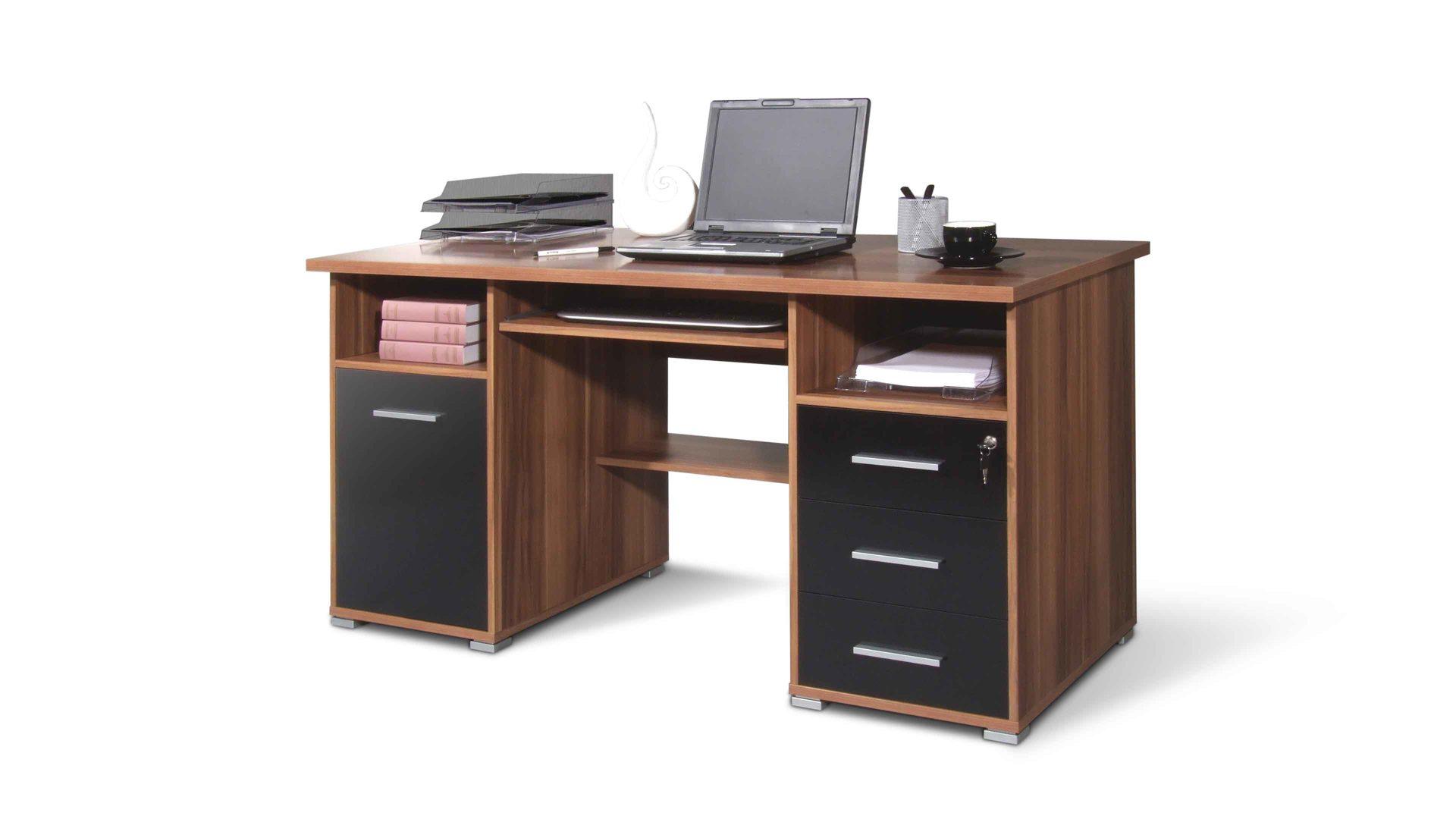Schreibtisch Germania Aus Holz In Holzfarben Schreibtisch Bzw. Computertisch  Für Moderne Büros Walnussfarbene U0026 Schwarze