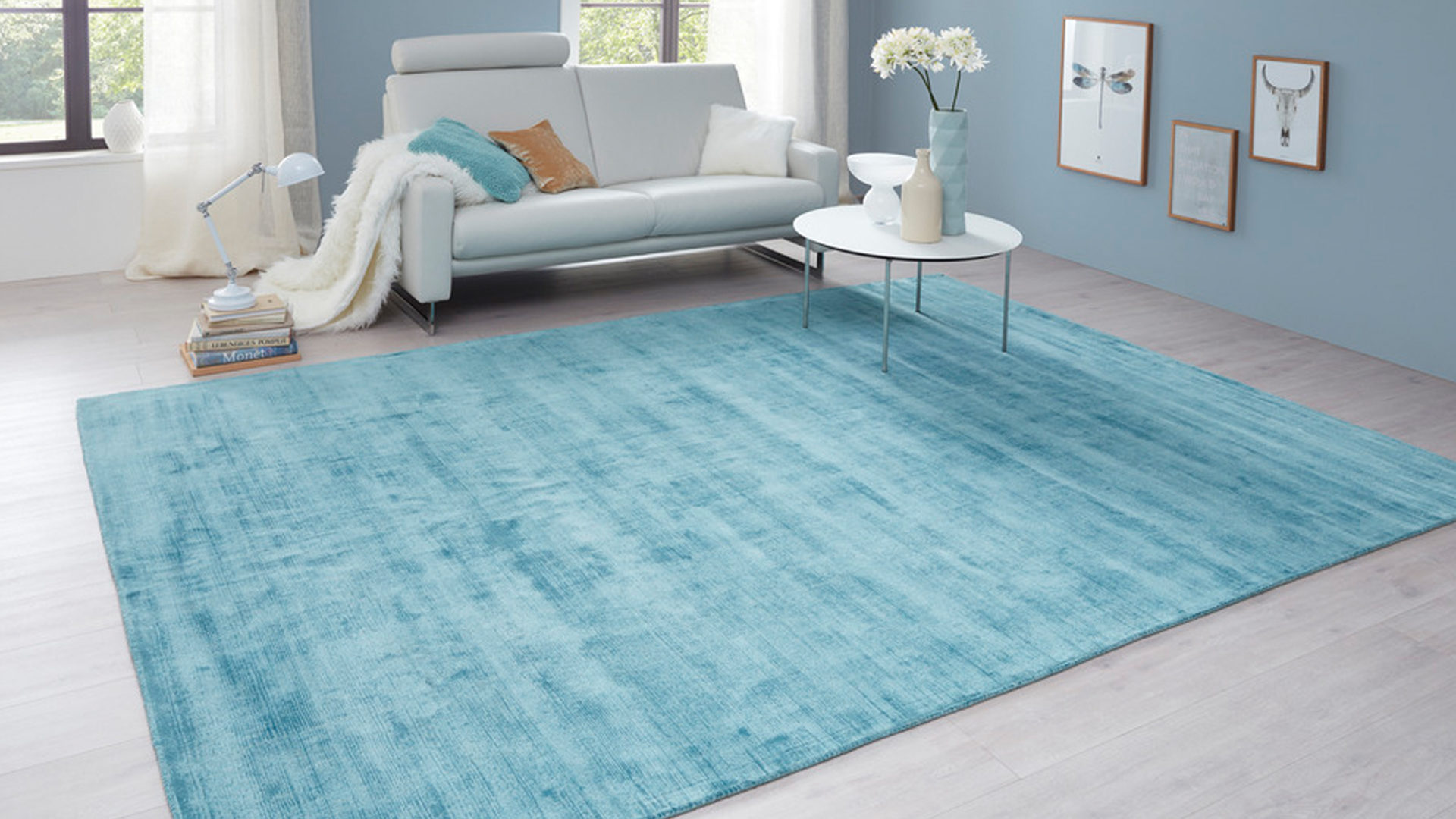 Handwebteppich Interliving aus Textil in Blau Interliving Teppich Serie A-8050 Türkisfarben – ca. 200 x 300 cm