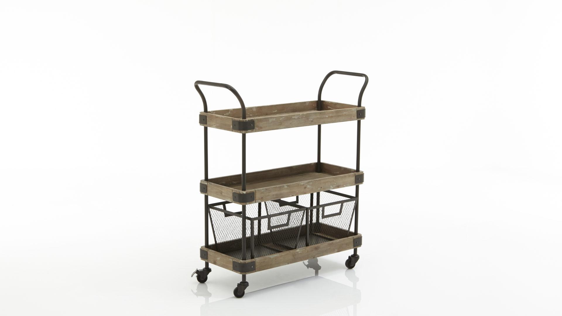 Servierwagen im Industrie-Look, Vintage-Holz & schwarzes Metall ...