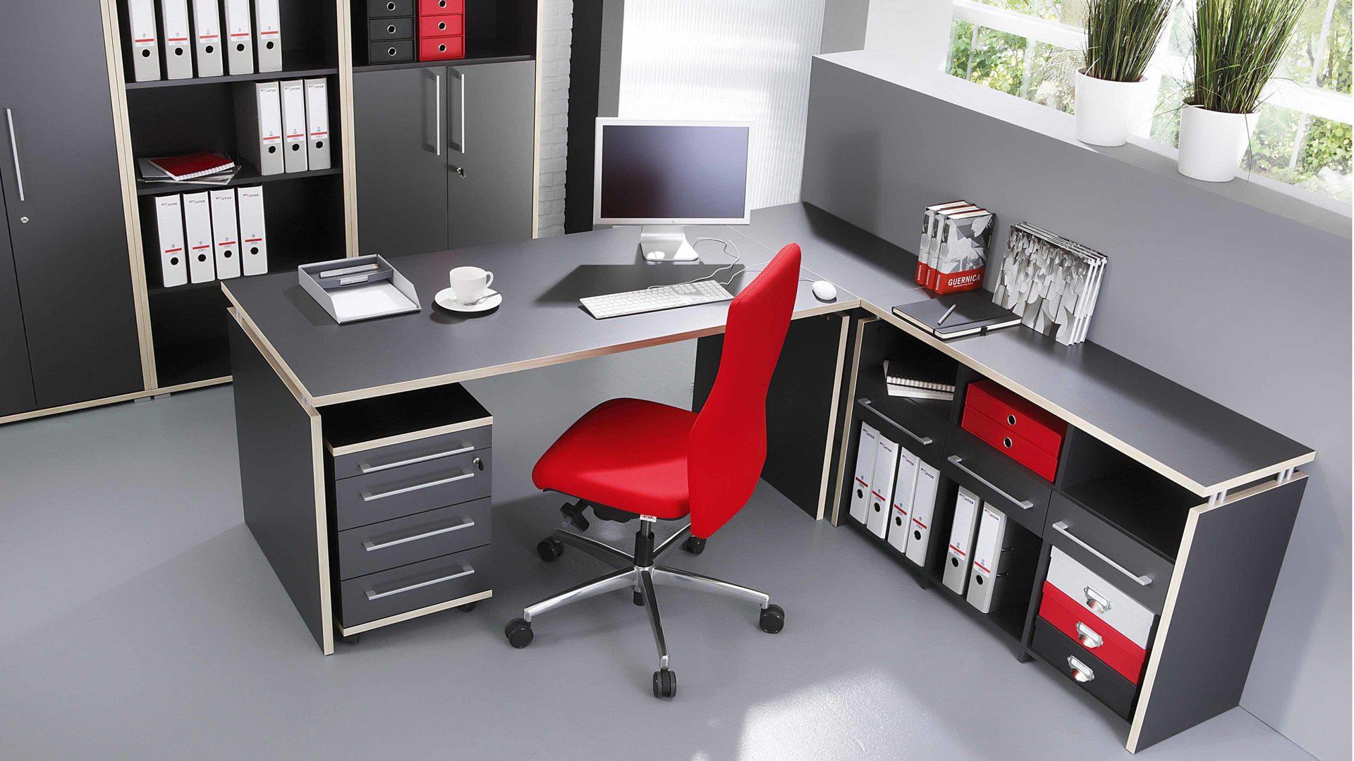 Eckverbindungsplatte Dante als Büromöbel-Zubehör, anthrazit- &, Lahr ...