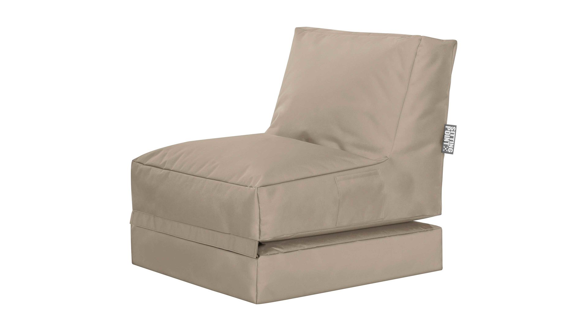 Sitzsack-Liege Magma sitting point aus Stoff in Beige SITTING POINT Funktions-Sitzsack Twist Scuba khakifarbene Kunstfaser - ca. 300 Liter