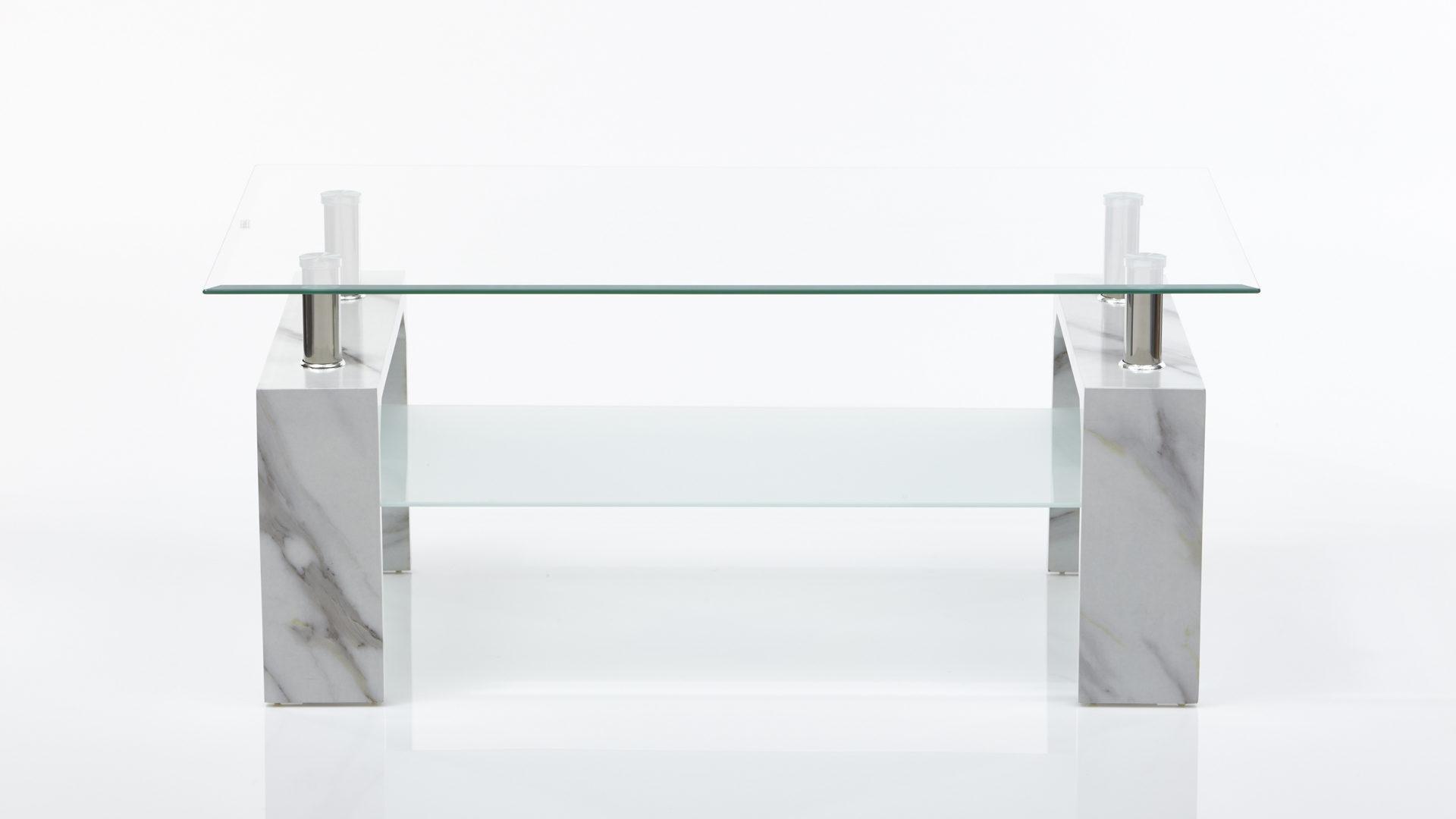 Couchtisch Concept Aus Glas In Weiss Im Marmorlook